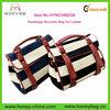 Retro Navy Striped Canvas Leather Handbags Shoulder Bag For Ladies