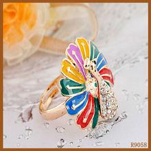 female jewelry latest design diamond peacock design ring