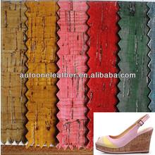 PU leather Women sandal leather ,tree grain leather,