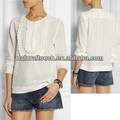 Las mujeres ropa de manga larga blusa de gasa con bordes de encaje( ntf04091)