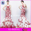 XL764 new fashion cap sleeve lace mermaid backless floor length red and white wedding dresses
