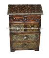 vintage indiano casa decorativos pintados à mão cabana de madeira caixa com quatro gavetas