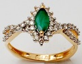 Marquise forma simples anel de gemstone, verde pedras preciosas anel de diamante, ouro amarelo diamond ring fabricante