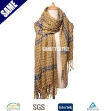 Acrylic boucle yarn plaid modern scarf shawl