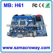 H61 Motherboard Support 2xDDR3,Core i3/i5/i7 Processors/ 8*usb 2.0/10*COM/16GB ram