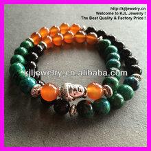 GZKJL-BL0056 fashion charm black agate turquoise stone bead ball bracelet buddha charm elastic wrap bracelet