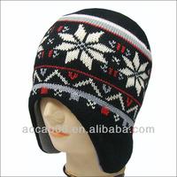 hand knit earflap beanie with ear muff