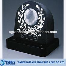 China black with photo granite pet gravestone slabs