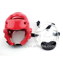 Martial arts equipment manufacturers dipped karate head gear with shield