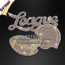 Football league with helmat glitter rhinestone crystal iron on motifs