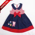 fanshoubaby varejo um pcs 2014 venda quente crianças roupas de bebê e peppa porco roupa das meninas dos desenhos animados stripe vestido com laço 6897