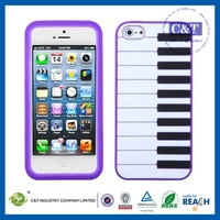 C&T Popular Cheapest piano style for iphone 5 case silicon