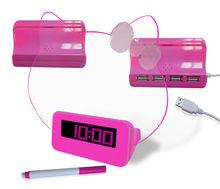 Memo Board Highlighter Funny Alarm Clocks With 4 Port Usb Hub