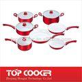 presionado de aluminio recubierto de cerámica utensilios de cocina con tapa