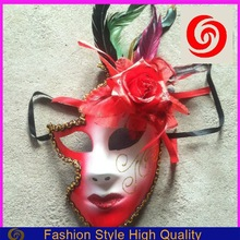 fashion plastic romantic flower red lips half sale party masks for girls