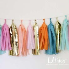 Diy foil Tissue Tassel Garland pearl and diamonds party decorations
