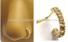 Fashion Cheap Wholesale Clear Crystals Gold Titanium Circle Shape 316L stainless steel Nose Rng Body Piercing Jewelry
