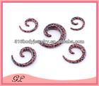 Fashion print strawberry black bakground types of ear expanders plug tunnels