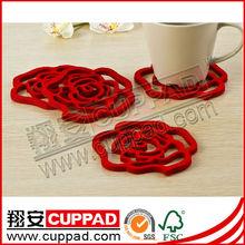 laser-cut felt coasters, cup coaster, cup mats