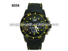 Japan Movt black men sport watch custom quartz watch silicone