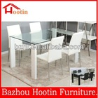 modern glass top dining table with wood legs for office / dining room / kitchen / hotel / coffee shop D909