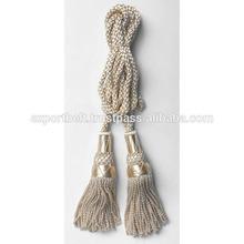 Elegant white Drapery Double Tassel Flag Cord Tassel | Banner Cord Tassel