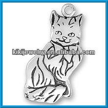 antique silver engraved cat custom made jewelry charms good luck charms