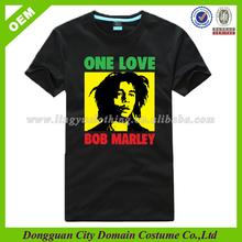 Custom Only Love Bob Marley Sublimation Image Plain Black T Shirts Wholesale (lvt010150)