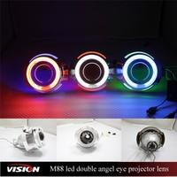 35W H1 Xenon Bulb 2.5inch Bixenon Projector Lens For Car Headlights Dual Angel Eyes Rinf Visteon Hid Headlight