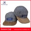 2014 New Design Custom Made Melang Grey Woolen Fabric OEM Your Logo Cap/Hat With Flat Suede Bill Hat/Cap