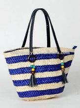 2014 fashion lady straw bag Striped corn husk straw bag