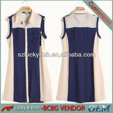 Hot sale sleeveless custom lady casual frock