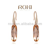 ROXI Rose Gold Plated Champagne Oval Crystal Pendant Earrings Jewelry