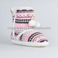 Handmake zapatos que hacen punto de lana botas de nieve para niños / los niños bola de pelo niñas