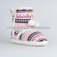 Handmake baby shoes knitting wool snow boots kids/children fur ball little girls