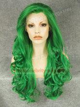 Kim Kardashian Long Wavy Green Synthetic Lace Front Wig