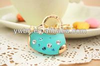 (YS439 002) Spring 2014 gold plated green enamel women key fob bug Brazil accessory