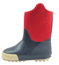 Comfort rubber neoprene rain boots, kids footwear in rainy days