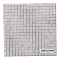 Polished Iridescent Mini Square Rainbow White Peal Mosaic Tiles