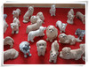Small dog stone sculpture for indoor decor