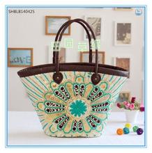 Popular design women embroideried beach straw bags fashion