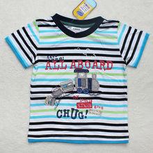 Kids clothing wholesale ajiduo brand name kid's clothes children's stripe t-shirt