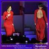 Red Long-sleeve Sequin Open Back Long Court Train Elegant Celebrity Dress