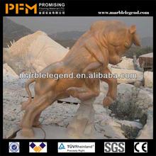 PFM 100% hand carved decorative stone bull sculpture