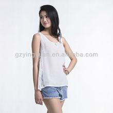 Sexy white sleeveless blouse for ladies sexy tank top chiffon vest
