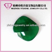 Antik Shape Briolete Flat Bottom Green Opaque Gemstone Jade