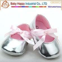 PU leather little girl baby silver dress shoe