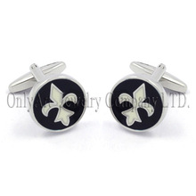 hot products shiny flat polished custom enamel Lily cufflinks