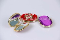 Women makeup golden trims classical flowers Embroidered hand mirror Wholesale double-sided makeup pocket mirror