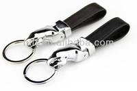 High-grade quality genuine leather key chain metal chrome jaguar key chains in wholesale